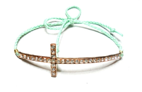 Mint Lavender Coral Salmon Sideways cross Braided Friendship Bracelets - waxed mint colored floss gold plated rhinestones sideway cross