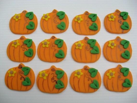 Fondant Cupcake Toppers Thanksgiving Pumpkins Edible  Fondant Cupcake...