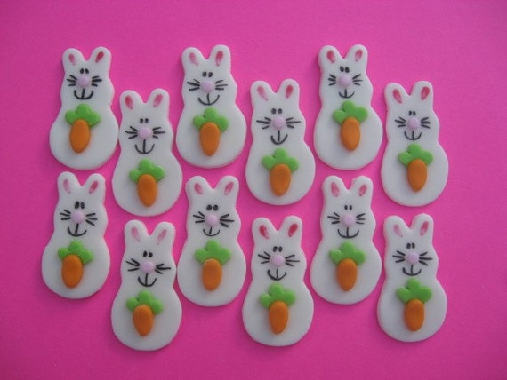Easter Bunny Cupcake Toppers - Bunny with Carrot - Edible Fondant Cupcake Decorations