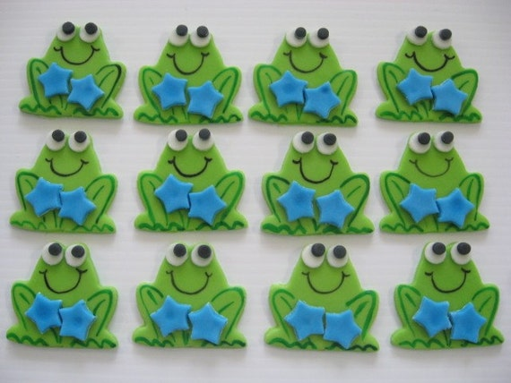 Frog Cupcake Toppers - Boy Frog With Blue Stars - Edible Fondant Cupcake Decorations - READY TO SHIP