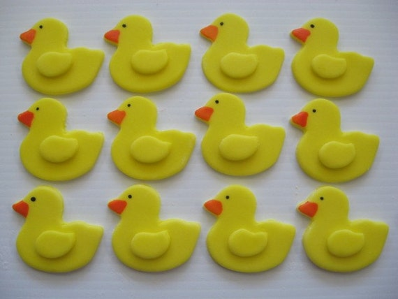 Duck Cupcake Toppers - Yellow Duckies - Edible Fondant Cupcake Decorations - READY TO SHIP