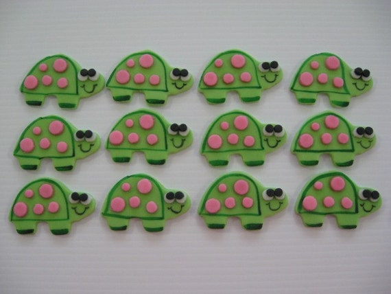 Turtle Cupcake Toppers - Girl Turtle with Pink Dots - Edible Fondant Cupcake Decorations - READY TO SHIP