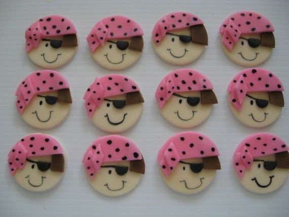 Pirate Cupcake Decorations - Pink - Edible Fondant Birthday Toppers - READY TO SHIP