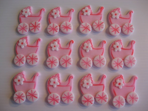 Baby Buggy Cupcake Toppers - Pink Baby Carriage Cupcake Decorations - Edible Fondant - READY TO SHIP