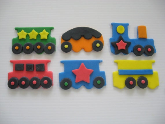 Choo Choo Train Cupcake Toppers - Edible Cupcake Decorations - READY TO SHIP