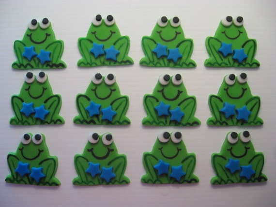 Frog Cupcake Decorations - Boy Frog with Blue Stars - Edible Fondant Birthday Cupcake Toppers - READY TO SHIP