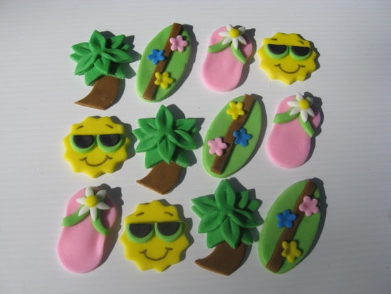 Beach Cupcake Toppers - Pink Flip Flops, Green Surfboards, Groovy Suns, Palm Trees - Edible Fondant Cupcake Decorations - READY TO SHIP