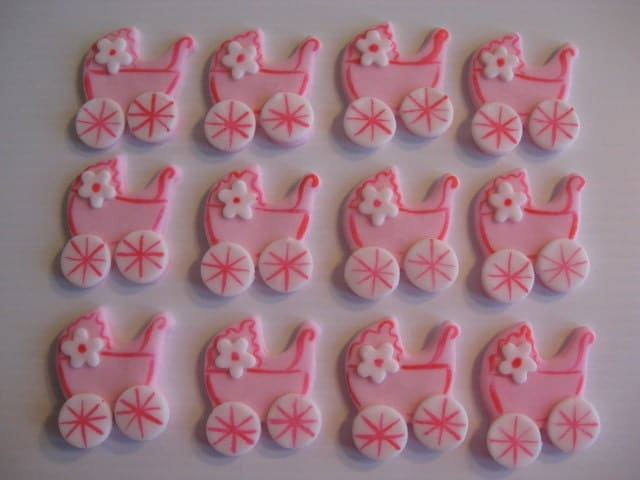 Baby Buggy Cupcake Toppers Pink Baby Carriage by ChristmasClay