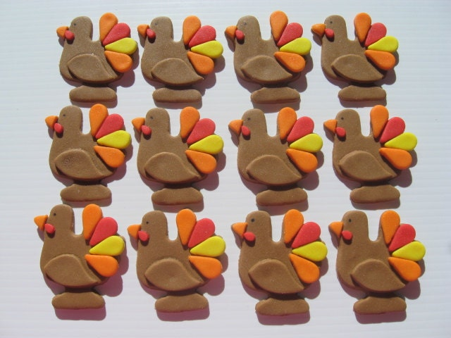 Edible Cake Images Thanksgiving : Thanksgiving Turkey Cupcake Decorations Edible Fondant