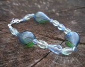 Blue and Green glass bracelet and earrings