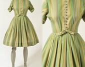 1950's Sage Striped Dress Vintage Wide Skirt Crinoline