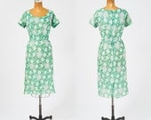 1950's Watercolor Green Dress - Leaf & Floral Sheer with Pale Sequins