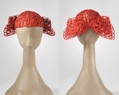 1930's Cloche Hat - Red Lace Gimp Cap with Bow