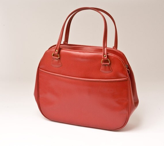 1960s Red Faux Leather Messenger Handbag Tote Large