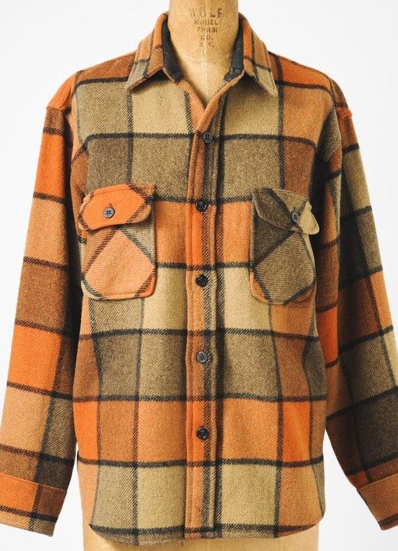 Vintage Men's Wool Plaid Shirt Jacket 1950's Hunting Jacket Pumpkin Plaid