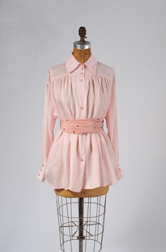 Vintage Pink Poets Blouse