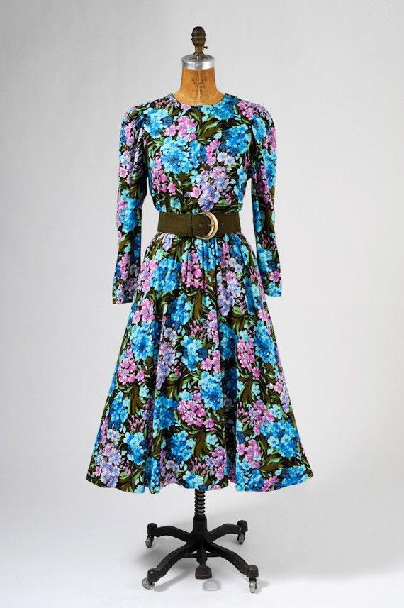 1970s Floral Dress - Rich Blue Purple and Deep Green Floral Maxi 1940's Retro Dress