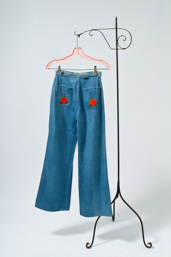 S red rose blue jeans embroidered bell bottoms by