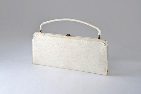 50's Handbag Bone White Faux Ostrich