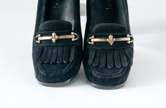 Vintage Black Suede Fringe Loafers 1980's Patrick Cox Chunky Heels Pumps
