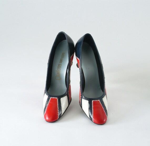 Vintage MOD Color Block Red White Blue Shoes 1960s Leather Pumps