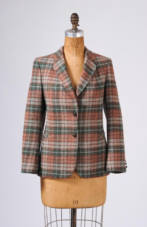 1960's Wool Tweed Blazer - Forest Berry Plaid Jacket