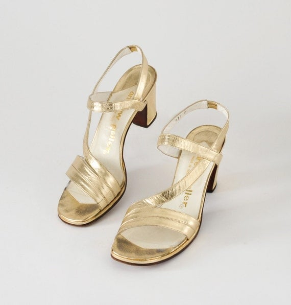 1970's Gold Strappy Heels: Vintage Andrew Geller Cocktail Party Dance Shoes, Sandals