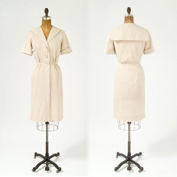 1950's Latte White Seersucker Dress - Nautical Collar