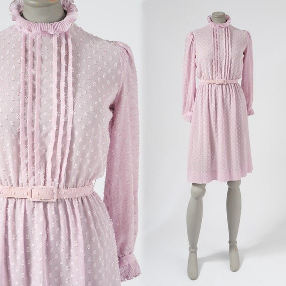 1970's Lavender Chiffon Dress - Prairie Ruffled Pastel Flocked Shirtdress Detailing