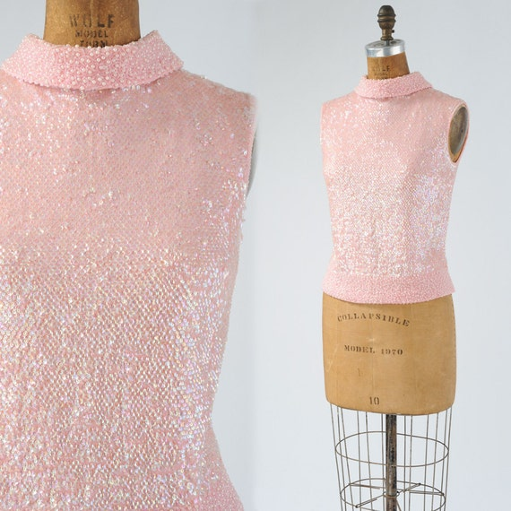 1950's Pink Sequin Beaded Shell - Petal Pink Vintage Sweater