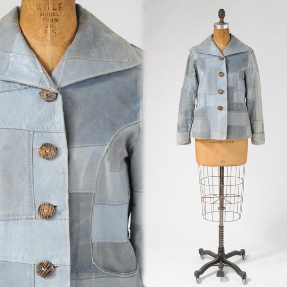 70's Blue Patchwork Suede Jacket - Pastel Blue Leather