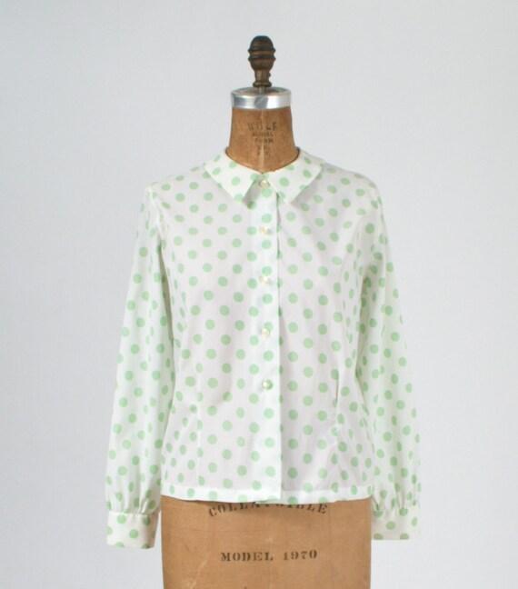 1960's Green Polka Dot Blouse