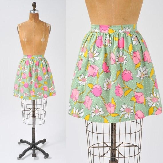 Vintage Mini Skirt  - 60's Floral Pink Tulips