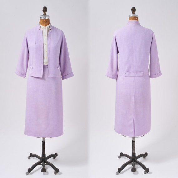 Vintage Lavender Suit: 50s Two Piece Boxy Jacket & Pencil Skirt Spring Secretary New Look