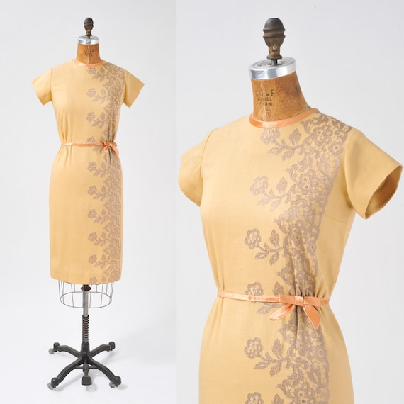 1950s Honey Linen Wiggle Dress - Lace Embroidery