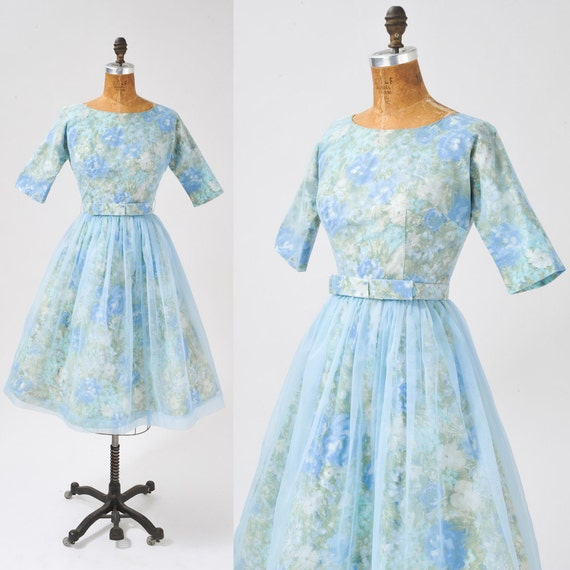 1950's Vintage Powder Blue Floral Dress - Baby Blue Nylon & Blue Floral Cotton