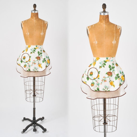 Vintage Apron 1950's Reversible Cocktail Hostess Bar Kitchen Apron
