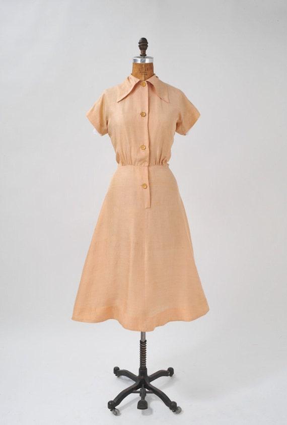 1930s Natural Raw Silk Dress