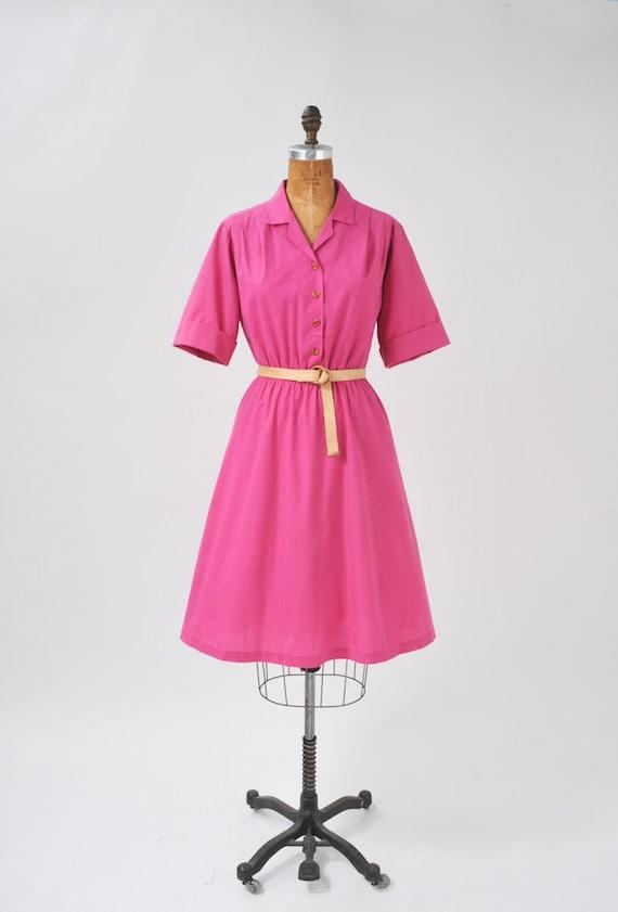 Vintage Fuchsia Pink Shirtdress
