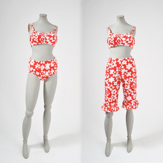 Vintage 1960's MOD Floral Bikini Bloomers Set Red & White Floral NWT