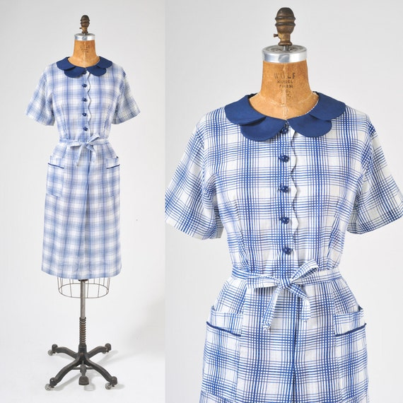 1950s Blue Plaid Shirt Dress - Vintage Cotton Country Day Dress - Deadstock Large XL
