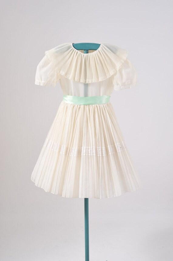 1950's Girl's Communion Dress - Flower Girl - Party Dress - White Sheer Dress