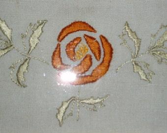 Framed Embroidered Arts and Crafts rose