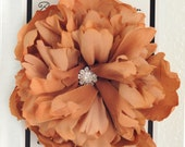 XL Pink Peppermint Signature Gorgeous Cocoa Vintage Peony Silk Flower Hair Clip with Multi Swarovski Crystal Center