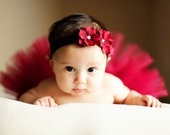 Christmas Holiday Stunning Cranberry Red on Black Triple Hydrangea Silk Flower infant and newborn soft and stretchy satin elastic headband