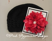Black Crocheted Beanie with XL Bright Red Peony and Swarovski Crystal Center fits toddler-women