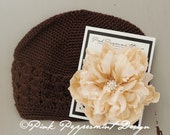 Chocolate Brown Beanie with XL Cream Peony and Swarovski Crystal Center fits toddler-women
