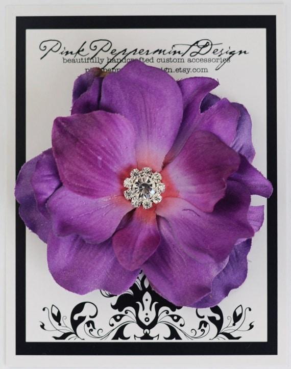 Pretty Purple Anemone Baby Women and Girl's Alligator Silk Flower Hair clip with multi Swarovski Crystal Center