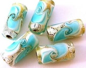 8 turquoise and gold parfait beads, lampwork glass