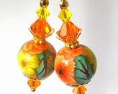 Orange and yellow earrings, floral polymer clay, crystal